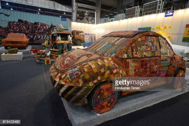A display of artwork by Cartist during Auto Expo 2018 motor show at India Expomart on February 7 2018 in Greater Noida India The Expo will include...