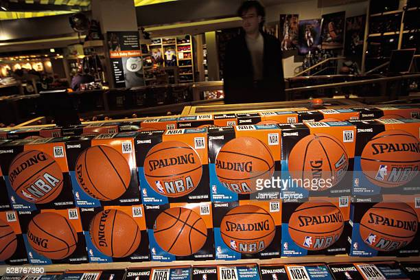 Display of basketballs for sale inside the NBA Store in New York