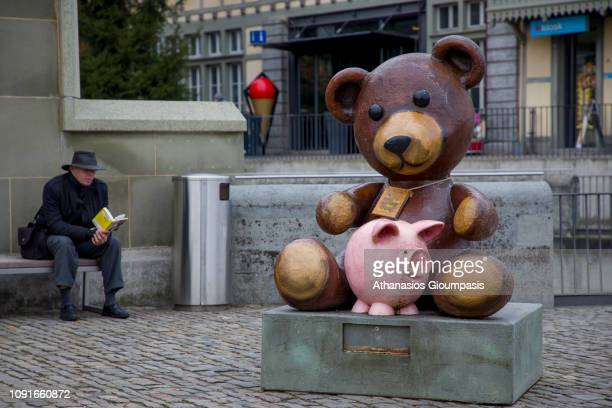 A display of bear at The old town of Bern on January 01 2019 in Bern Switzerland The old town is the medieval city center of Bern Bern is the capital...