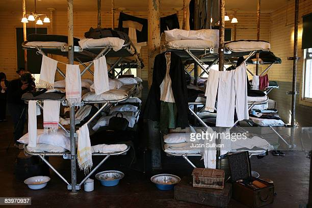 A display of beds for detainees is seen in the detention barracks at the Angel Island Immigration Station December 9 2008 on Angel Island in...
