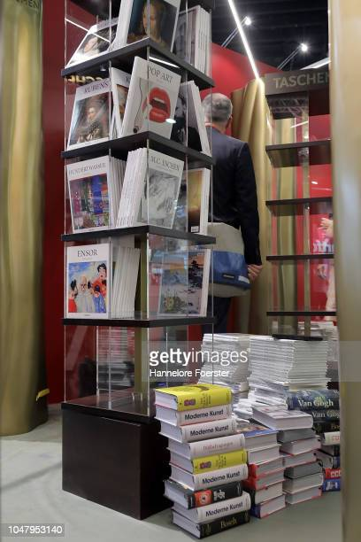 Display of books at an exhibitor's stand prior to the opening of the Frankfurt Book Fair on October 9, 2018 in Frankfurt, Germany. Approximately...