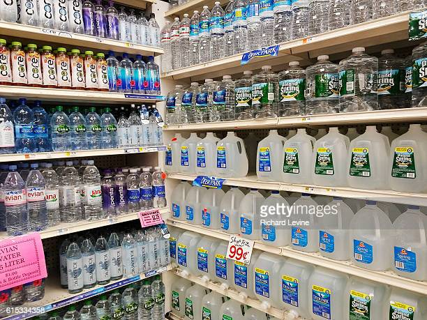A display of bottled water is seen in a supermarket in New York on Thursday March 17 2016