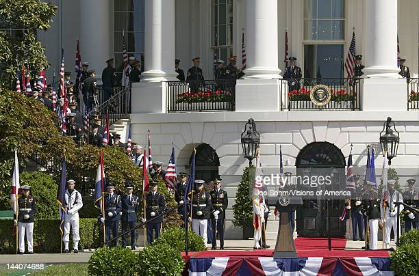 Display of British Union Jack Flag and American Flags in front of the South Portico of the White House as part of the Official Welcoming of Her...