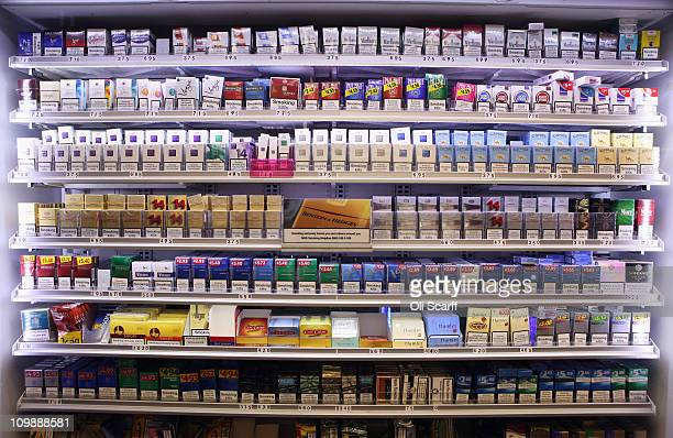 A display of cigarette packets and tobacco products on March 9 2011 in London England The government has announced that displays of tobacco products...