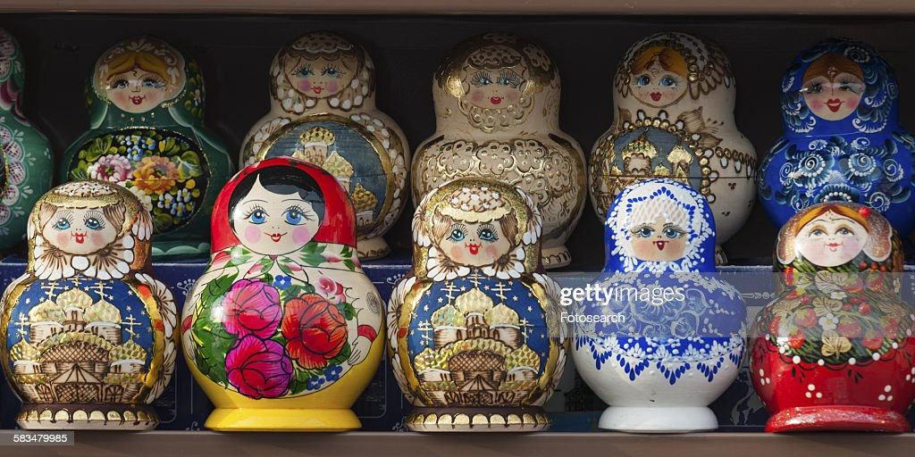 Display of colorful Russian nesting dolls : Stock Photo