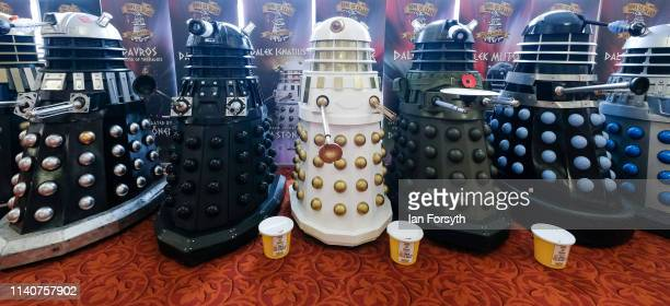 Display of Dalek's are lined up on the first day of the Scarborough Sci-Fi weekend at the seafront Spa Complex on April 06, 2019 in Scarborough,...