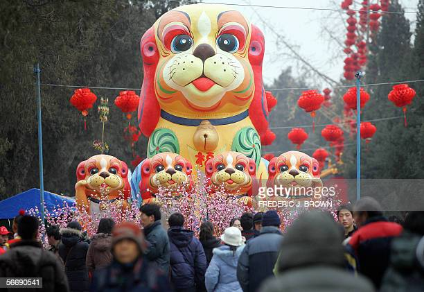 A display of dogs greets visitors arriving for the opening of the Ditan Park temple fair to ring in the Lunar New Year 28 January 2006 in Beijing The...