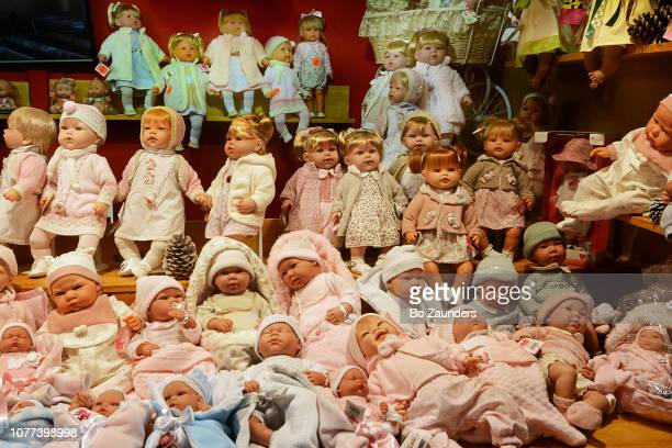 Display of dolls at the Christmas market in the Tuileries Garden in Paris, France
