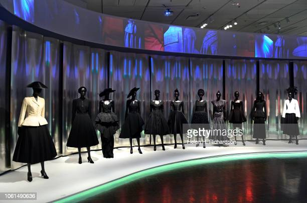A display of dresses in the upcoming Dior Show at the Denver Art Museum on November 13 2018 in Denver Colorado This display is at the beginning of...