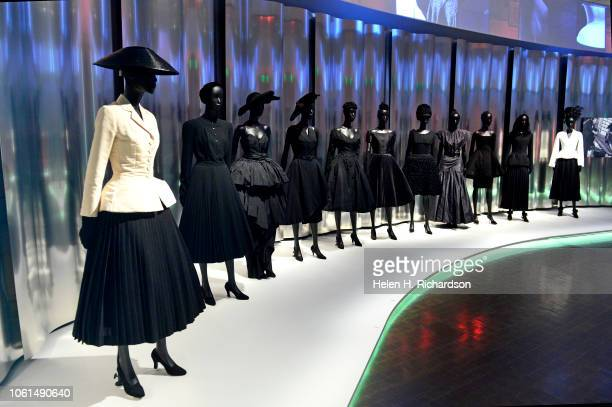 Display of dresses in the upcoming Dior Show at the Denver Art Museum on November 13, 2018 in Denver, Colorado. This display is at the beginning of...