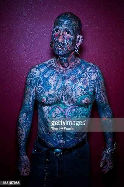 Dennis Lang displays his tattoos at the 12th Annual New York City Tattoo Convention at Roseland Ballroom in Manhattan