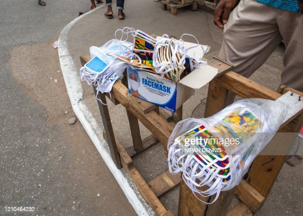 Display of face masks for sale after the partial lockdown in parts of Ghana to halt the spread of the COVID-19 coronavirus was lifted in Accra, Ghana...