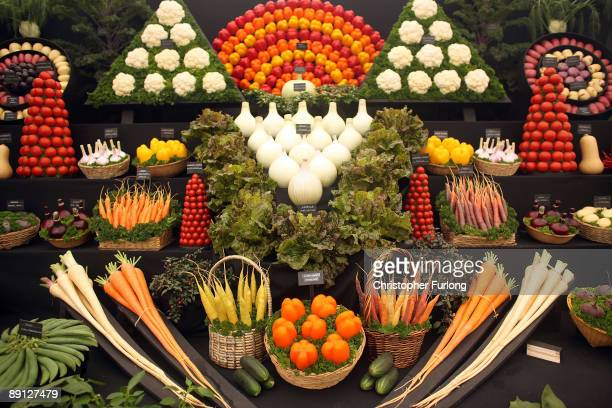 Display of fine garden vegetables by the Vegetable Society at the Royal Horticultural Society's Tatton Park Show on July 21, 2009 in Knutsford,...