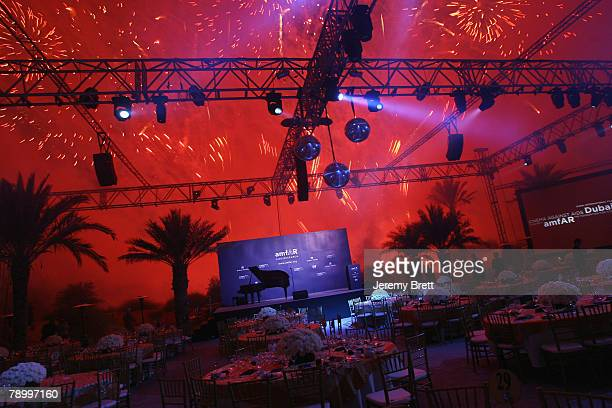 Display of fireworks is seen at the amfAR Cinema Against AIDS Dubai dinner held at the Bab Al Shams Hotel during day two of the 4th Dubai...