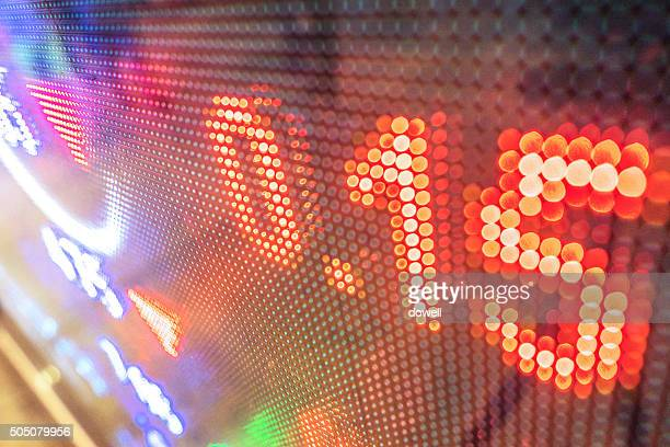display of fluctuation of exchange rate on LED screen  in bank