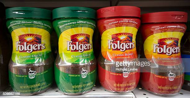 Display of Folgers coffee on a supermarket shelf in New York on Saturday, August 29, 2015. Favorable weather in Brazil has increased coffee crop...