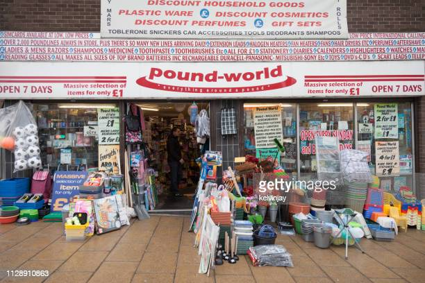 a display of goods at a discount store, pound shop in bradford, uk - bradford england stock pictures, royalty-free photos & images
