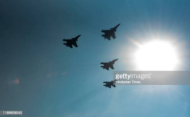 Display of Indian Air Force aircraft Su30 MKI during successful culmination of the Air Force component of Ex INDRA 19 at Air Force Station Lohegaon...