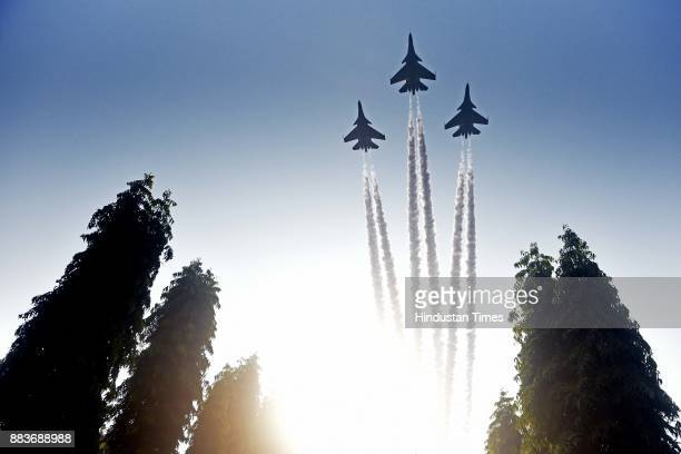 Display of Indian Airforce planes during passing out parade of 133rd course of National Defence Academy on November 30 2017 in Pune India