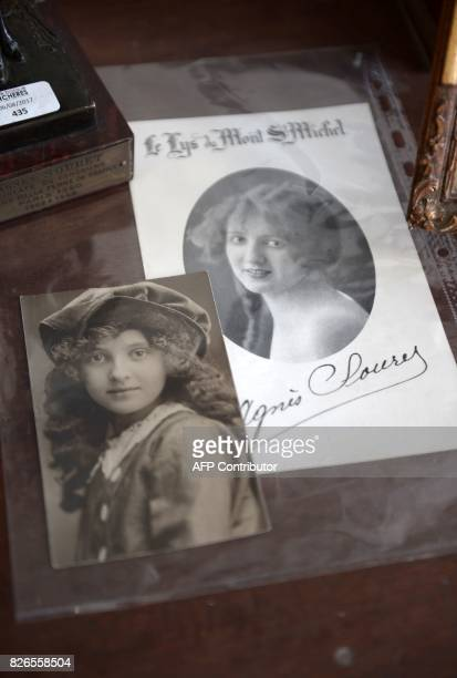 A display of items including photographs of the first 'Miss France' Agnes Souret who was a native of the Basque town of Espelette at SaintJean de Luz...