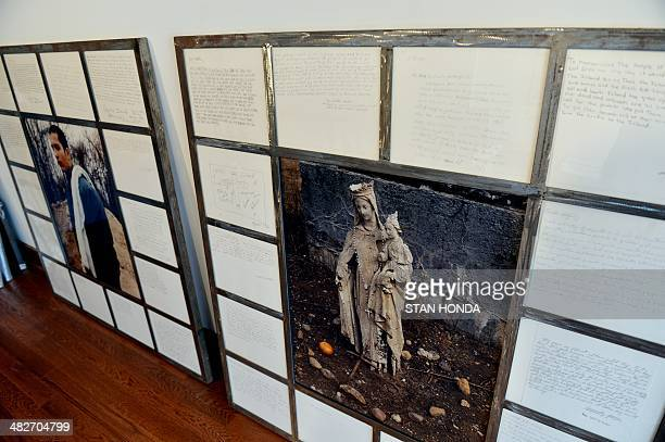 A display of large collaborative works by artist Melinda Hunt of the Hart Island Project and photographer Joel Sternfeld April 2 2014 in her studio...