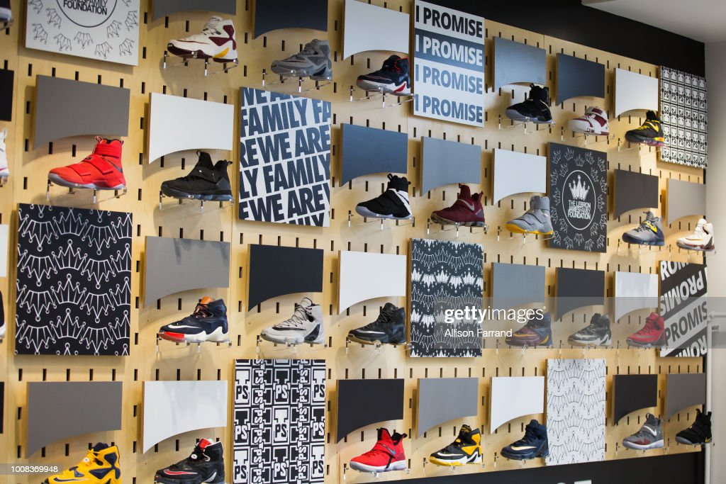 A display of LeBron James' sneakers in the lobby of the new I Promise school on July 30, 2018 in Akron, Ohio. The new school is a partnership between the LeBron James Family foundation and Akron Public Schools.