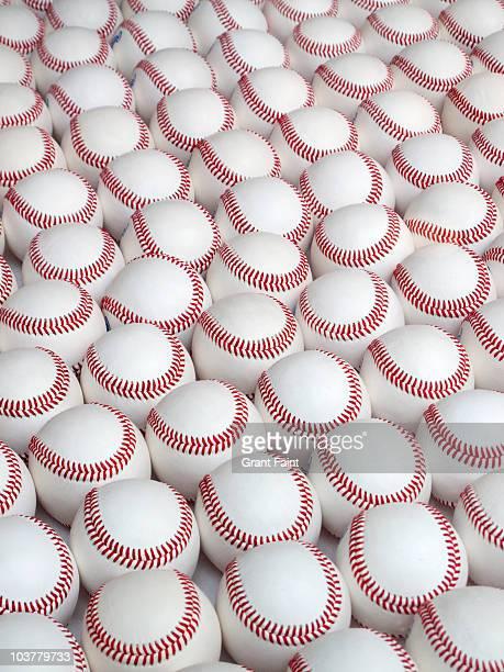 display of many baseballs