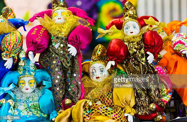 display of mardi grass dolls - new orleans mardi gras stock photos and pictures
