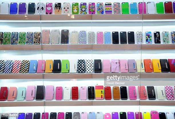 A display of mobile phone covers are seen at the 2013 International CES at the Las Vegas Convention Center on January 9 2013 in Las Vegas Nevada CES...