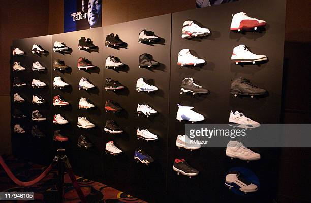Display of Nike Basketball Air Jordan sneakers during Air Jordan XVII Launch Party at NBA AllStar Weekend at Rococo's in Philadelphia Pennsylvania...