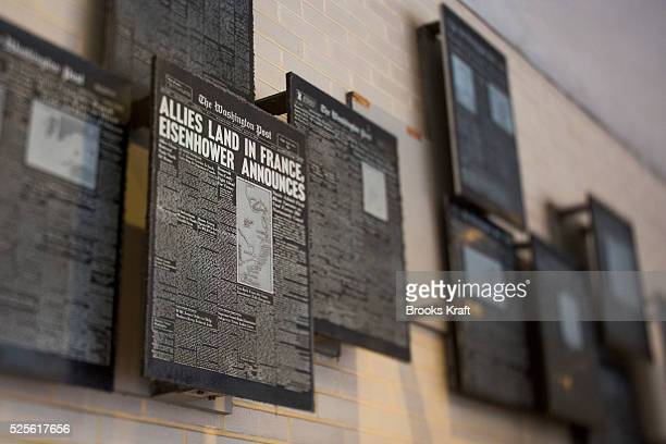 A display of old front page printing plates at The Washington Post newspaper headquarters in Washington DC