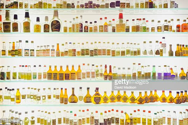 Display of old grappa bottles.