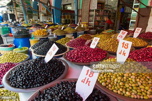 Display of olives for sale in the souk of Habous one of the neighborhoods of the city of Casablanca in Morocco