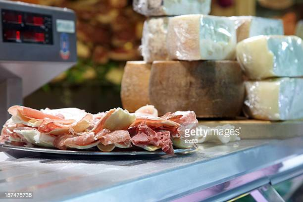 Display of parma hams and cheeses