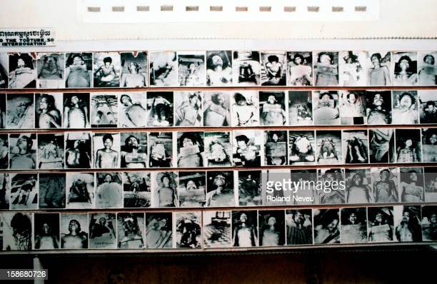 A display of photographs of the victims of prison S21 as it was known exhibited at the Tuol Sleng museum The suspects including prominent Khmer Rouge...