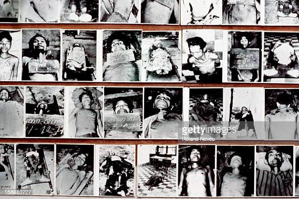 Display of photographs of the victims of prison S21 as it was known exhibited at the Tuol Sleng museum The suspects including prominent Khmer Rouge...