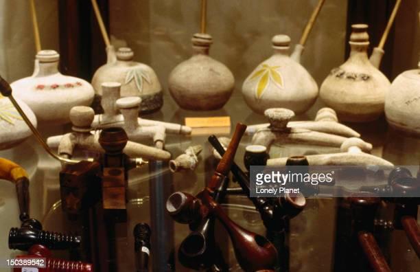 Display of pipes at Hubbub & Sons shop.