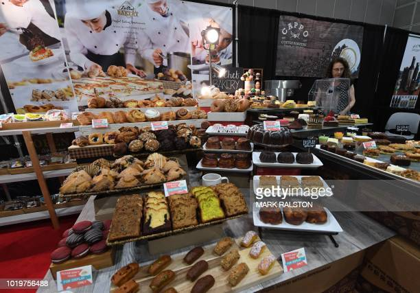 A display of products from the Le Chef Bakery at the Western Foodservice and Hospitality Expo in Los Angeles California on August 19 2018 The three...