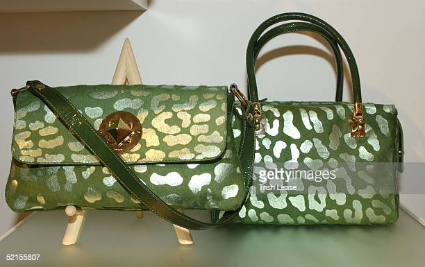 A display of purses is shown at the Kate Spade press preview February 8 2005 in New York City