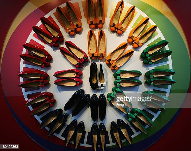 A display of Salvatore Ferragamo shoes is shown during the exhibition Salvatore Ferragamo Evolving Legend 19282008 at Museum of Contemporary Art on...