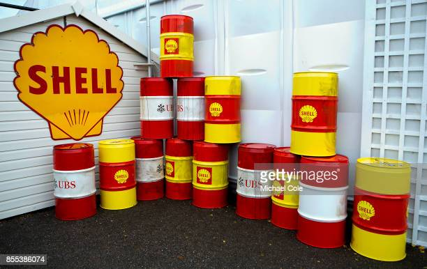 Display of Shell UBS oil drums at Goodwood on September 8th 2017 in Chichester England