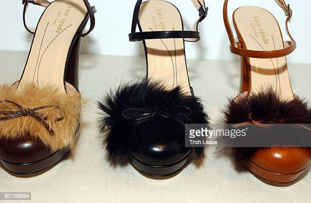 Display of shoes is shown at the Kate Spade press preview February 8, 2005 in New York City.