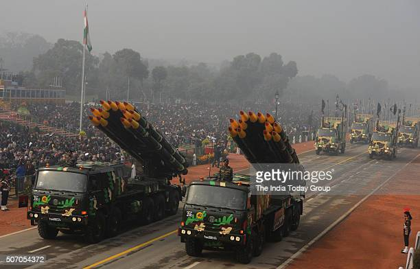 A display of SMERCH Launcher Vehicles of Rockets during the 67th Republic Day parade at Rajpath in New Delhi