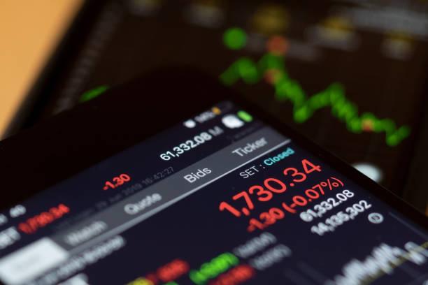Display of Stock market on smartphone.