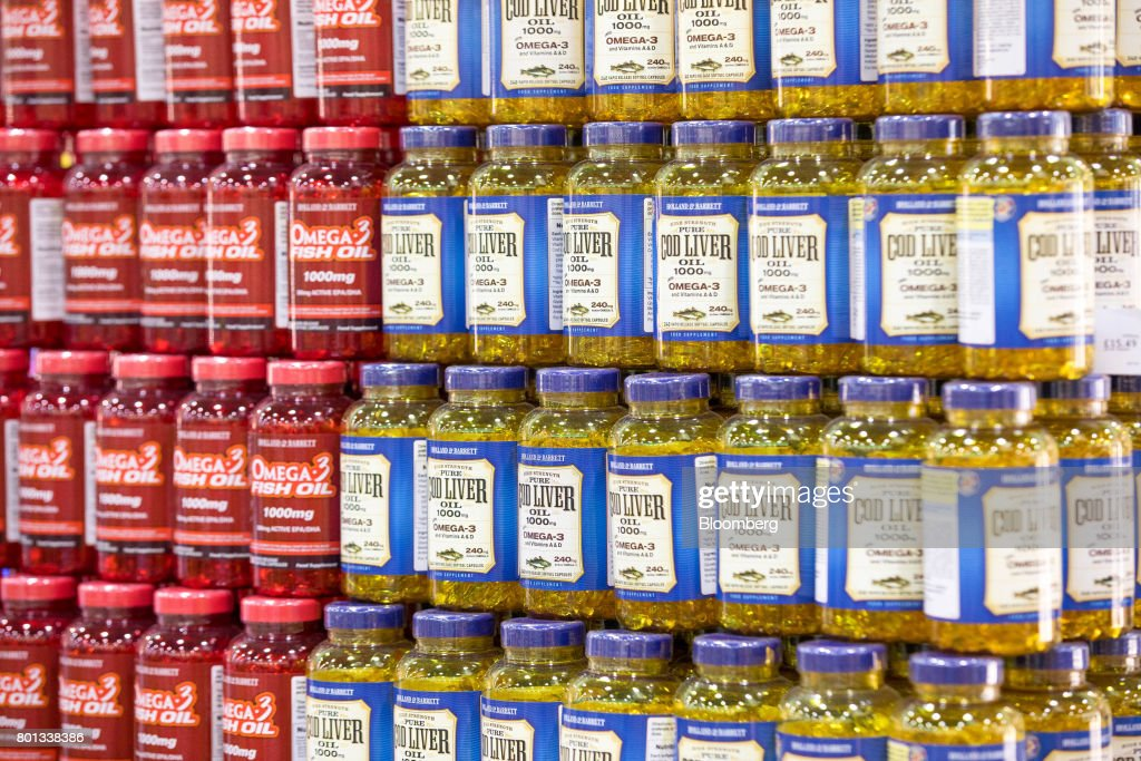A display of supplements stands at a store operated by
