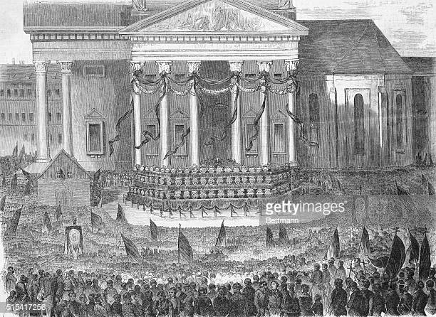 Display of the coffins of the heroes of the Revolution in Berlin March 22 1848 Drawn on the spot by Kirchoff