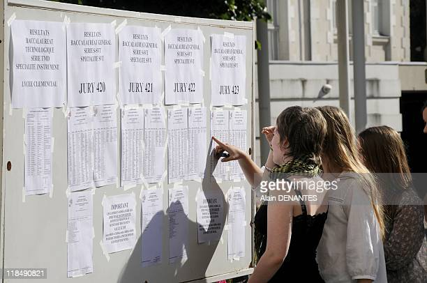 Display of the results from the Baccalaureat examination in Clemenceau school on July 05 2011 in Nantes France