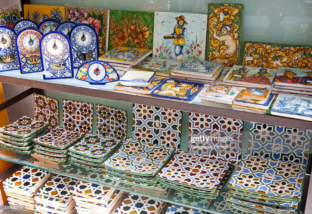 Display of tiles inside Santa Ana ceramic tile shop in Triana ...