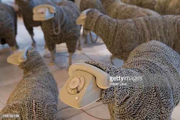 display of tribut sheep at museum fur kommunikation. - kommunikation stock pictures, royalty-free photos & images