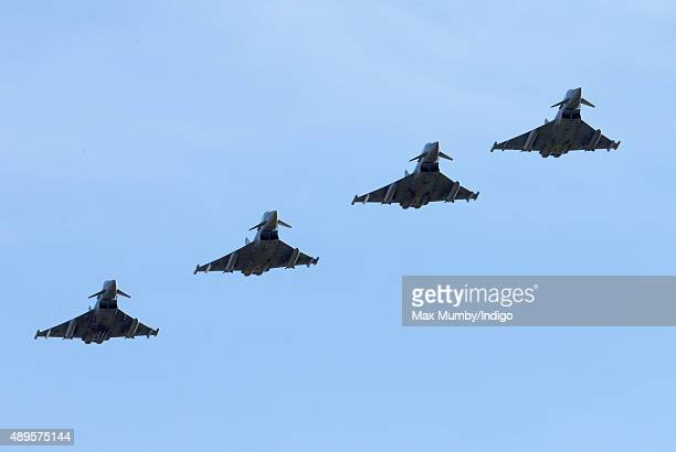 A display of Typhoon Aircraft seen during a visit by Prince William Duke of Cambridge to RAF Coningsby to observe the 100th Anniversary Parade of 29...